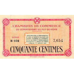 Puy-de-Dôme - Pirot 103-1 - 50 centimes - Série B 102 - Sans date - Etat : SUP