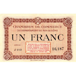 Puy-de-Dôme - Pirot 103-6 - 1 franc - Série J 110 - Sans date - Etat : NEUF