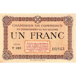 Puy-de-Dôme - Pirot 103-6 - 1 franc - Série T 120 - Sans date - Etat : SUP