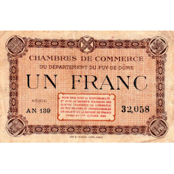 Puy-de-Dôme - Pirot 103-8-AN139 - 1 franc - Etat : TB+