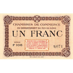 Puy-de-Dôme - Pirot 103-16-F106 - 1 franc - Etat : pr.NEUF