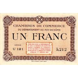 Puy-de-Dôme - Pirot 103-16 - 1 franc - Série U 121 - Sans date - Etat : SPL