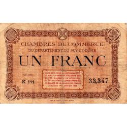 Puy-de-Dôme - Pirot 103-20 - 1 franc - Série K 111 - Sans date - Etat : B+