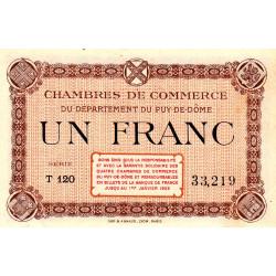 Puy-de-Dôme - Pirot 103-20 - 1 franc - Série T 120 - Sans date - Etat : SUP