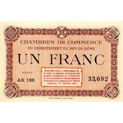 Puy-de-Dôme - Pirot 103-21 - 1 franc - Série AK 136 - Sans date - Etat : NEUF