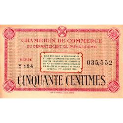 Puy-de-Dôme - Pirot 103-22 - 50 centimes - Série Y 124 - Sans date - Etat : TTB+