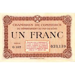 Puy-de-Dôme - Pirot 103-24 - 1 franc - Série G 107 - Sans date - Etat : SUP