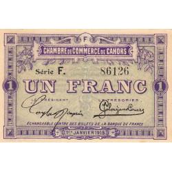 Cahors (Lot) - Pirot 35-14 - 1 franc - Série F. - 01/01/1915 - Etat : SUP