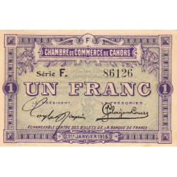 Cahors (Lot) - Pirot 35-14 - Série F - 1 franc - 1915 - Etat : SUP