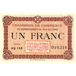 Puy-de-Dôme - Pirot 103-25 - 1 franc - Série AQ 142 - Sans date - Etat : SUP