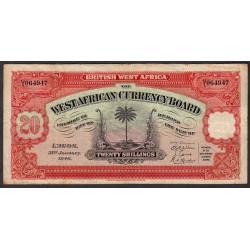 Afrique Occidentale Britannique - Pick 8b_6 - 20 shillings - Série U/1 - 31/01/1946 - Etat : TB+