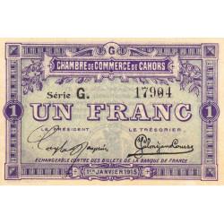 Cahors (Lot) - Pirot 35-14 - 1 franc - Série G. - 01/01/1915 - Etat : SPL