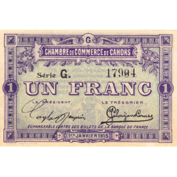 Cahors (Lot) - Pirot 35-14 - Série G - 1 franc - 1915 - Etat : SPL