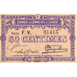 Cahors (Lot) - Pirot 35-16 - 50 centimes - Série F.V. - 01/01/1915 - Etat : NEUF