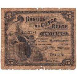 Congo Belge - Pick 4A - 5 francs - Kinshasa - Série K - 19/03/1919 - Etat : B