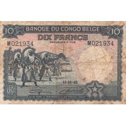 Congo Belge - Pick 14E - 10 francs - 11/11/1948 - Etat : B+