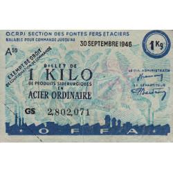 1 kg acier ordinaire - 30-09-1946 - Endossé - Etat : TTB