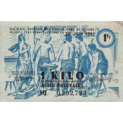 1 kg acier ordinaire - 30-06-1947 - Endossé dans l'Aveyron (12) - Série HJ - Etat : TTB