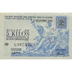 5 kg acier ordinaire - 31-12-1948 - Endossé dans l'Aveyron (12) - Série ID - Etat : SUP