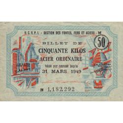 50 kg acier ordinaire - 31/03/1949 - Endossé à Guéret (23) - Série JM - Etat : SUP
