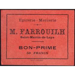 33 - Saint-Martin-de-Laye - Epicerie Farrouilh - Bon prime 50 francs - Etat : SPL