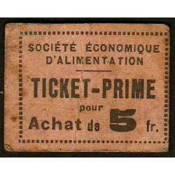 69 - Lyon - Sté Eco. d'Alimentation - Ticket prime 5 fr. d'achat - Etat : TB