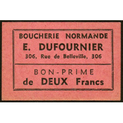 75 - Paris - Boucherie Normande - Rue de Belleville - 2 francs - Etat : SUP