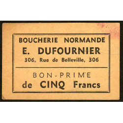 75 - Paris - Boucherie Normande - Rue de Belleville - 5 francs - Etat : SUP