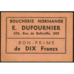 75 - Paris - Boucherie Normande - Rue de Belleville - 10 francs - Etat : SUP