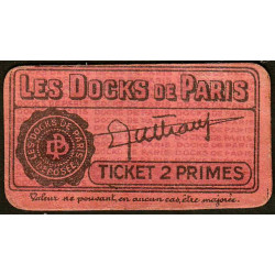 75 - Paris - Les Docks Parisiens - Ticket 2 primes - 2e type - Etat : SUP
