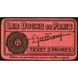 75 - Paris - Les Docks Parisiens - Ticket 2 primes - 2e type - Etat : SUP+