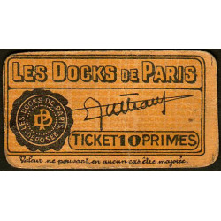 75 - Paris - Les Docks Parisiens - Ticket 10 primes - 2e type - Etat : TTB