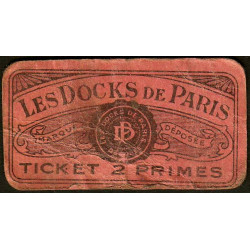 75 - Paris - Les Docks Parisiens - Ticket 2 primes - 3e type - Etat : B