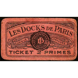 75 - Paris - Les Docks Parisiens - Ticket 2 primes - 3e type - Etat : TB