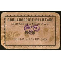 82 - St-Nicolas de la Grave - Boulangerie E. Plantade - Bon pour 5 kilos de pain - Etat : TB
