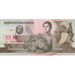 Corée du Nord - Pick 39s - 1 won - 1992 - Spécimen - Etat : NEUF