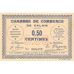 Calais - Pirot 36-1 - 50 centimes - 1914 - Etat : SUP