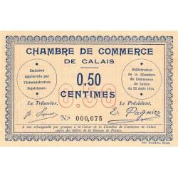 Calais - Pirot 36-1 - 50 centimes - Sans série - 22/08/1914 - Etat : SUP