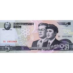 Corée du Nord - Pick 58a - 5 won - 2002 - Etat : NEUF