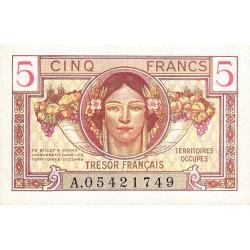 VF 29-01 - 5 francs - Trésor français - Territoires occupés - 1947 - Etat : SPL