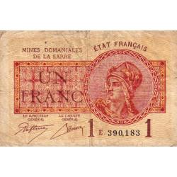 VF 51-05 - 1 franc - Mines Domaniales de la Sarre - 1920 - Etat : B+