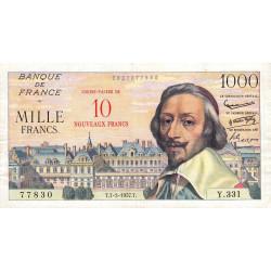 F 53-01 - 07-03/1957 - 10 nouv. francs sur 1000 francs - Série Y.331 - Richelieu - Etat : TTB