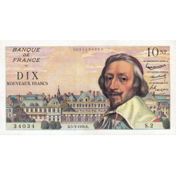 F 57-01 - 05/03/1959 - 10 nouv. francs - Richelieu - Série S.2 - Etat : SUP+