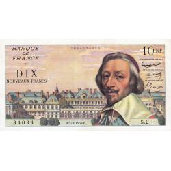 F 57-1 - 05/03/1959 - 10 nouv. francs - Richelieu - Etat : SUP+