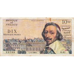 F 57-06 - 07/04/1960 - 10 nouv. francs - Richelieu - Série O.61 - Etat : TB