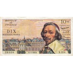 F 57-18 - 05/04/1962 - 10 nouv. francs - Richelieu - Série X.214 - Etat : TB+