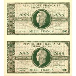 VF 12- VF 13 - 1000 francs - Marianne - 1945 - Paire de faux - Etat : NEUF