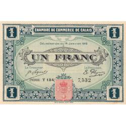 Calais - Pirot 36-25 - 1 franc - Série Y 124 - 14/01/1916 - Etat : SUP+