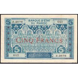 Maroc - Pick 9_3 - 5 francs - Série Z.2578 - 1929 - Etat : TTB+