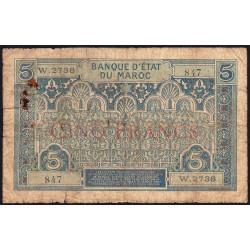 Maroc - Pick 9_3 - 5 francs - Série W.2378 (billet de remplacement) - 1929 - Etat : B+